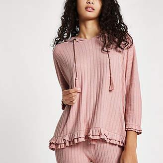 River Island Pink rib loungwear hoodie