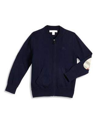 Burberry Jaxson Zip-Front Cotton Cardigan, Navy, Size 4-14 $150 thestylecure.com