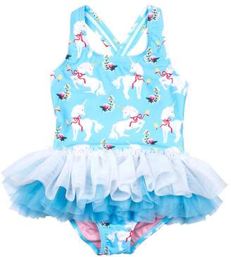 Rock Your Baby Girl's Unicorn Tulle One Piece