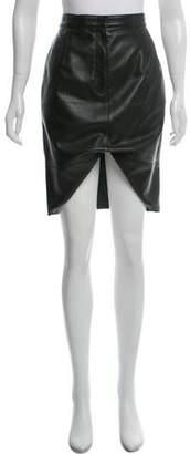 Rena Lange Stitched Leather Skirt