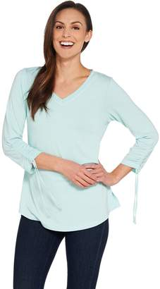 Isaac Mizrahi Live! SOHO Ruched 3/4 Sleeve Knit Top