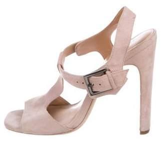 Halston Suede T-Strap Sandals