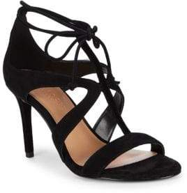 Halston Cut-Out Leather Ankle Strap Sandals