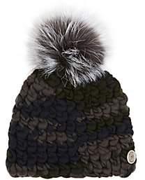 Mischa Lampert Women's Pomster Fur-Embellished Wool Beanie-Dk. Green