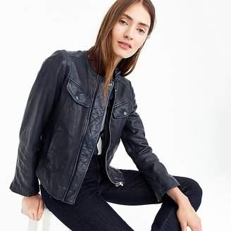 J.Crew Collarless washed leather jacket