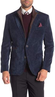 English Laundry Carbon Blue Micro Corduroy Bib Two Button Notch Lapel Trim Fit Blazer