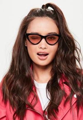 Missguided Black Cat Eye Pink Lens Sunglasses