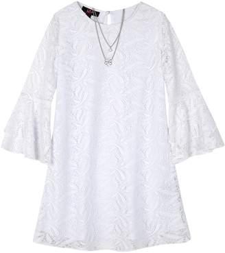 Amy Byer Iz Girls 7-16 IZ Lace Bell Sleeve A-Line Dress & Necklace Set
