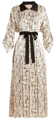 Roksanda Lucinda Ink Print Silk Dress - Womens - White Black