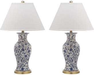 Safavieh Set Of 2 16In Beijing Floral Urn Table Lamps