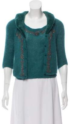 Blumarine Fur-Trimmed Embellished Cardigan Set