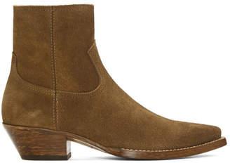 Saint Laurent Brown Suede Lukas Boots