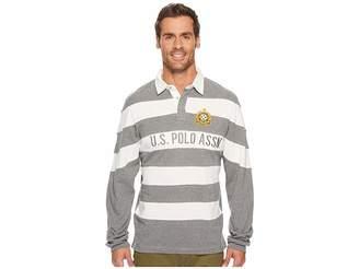 U.S. Polo Assn. Slim Fit Color Block Long Sleeve Pique Polo Shirt Men's Long Sleeve Pullover
