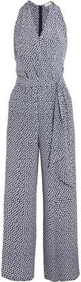 Tory Burch - Wrap-effect Polka-dot Silk Crepe De Chine Jumpsuit - Midnight blue $395 thestylecure.com