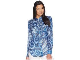 Lauren Ralph Lauren Paisley Silk-Blend Shirt Women's Clothing