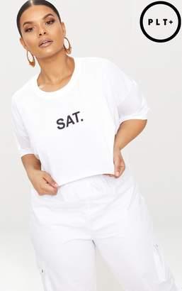 PrettyLittleThing Plus White SAT Slogan Cropped T Shirt