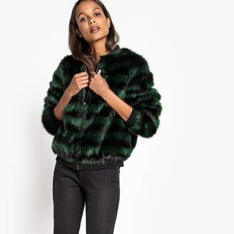 La Redoute Collections Striped Faux Fur Bomber Jacket