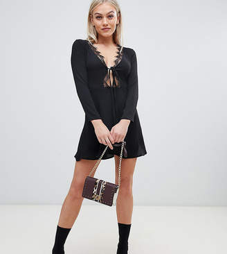 Missguided Petite lace trim tie front skater dress in black