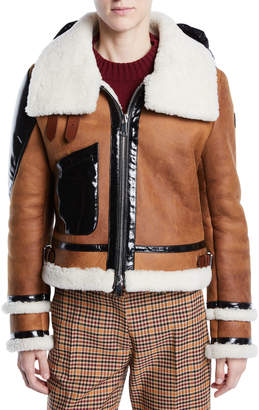 Moncler Crabier Mixed-Media Leather Jacket w/ Contrast Hood