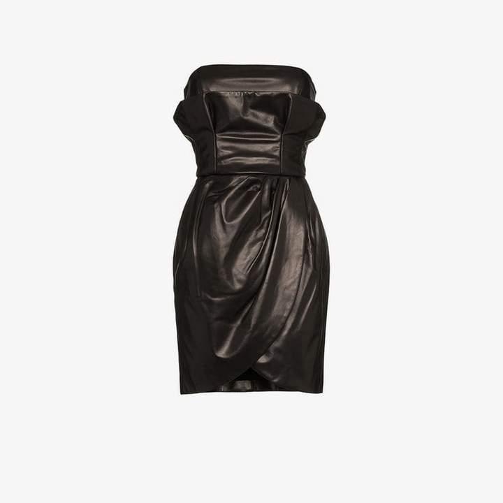 strapless leather mini dress