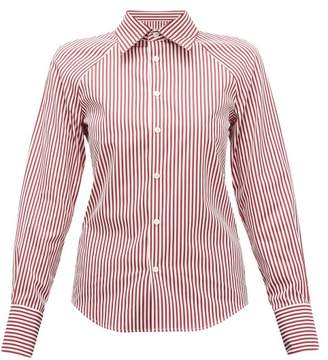 Maison Margiela Cut Out Striped Cotton Poplin Shirt - Womens - Burgundy Multi