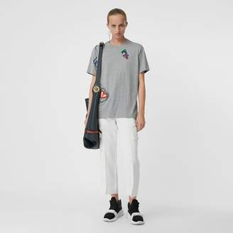 Burberry Embellished Cotton Jersey T-shirt, Grey