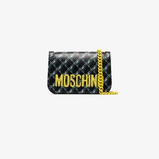 e21c698c12e Moschino black blurred logo print leather shoulder bag