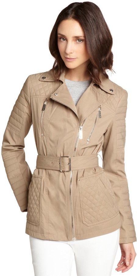 Kenneth Cole Tan Quilted Cotton Blend Asymmetrical Zip Belted Coat