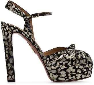Aquazzura black gold and silver metallic evita jacquard 130 leather platform sandals