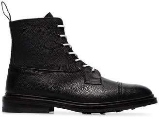 Tricker's Trickers x Browns black lace up grained leather boots