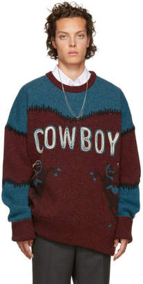 DSQUARED2 Burgundy and Blue Cowboy Sweater