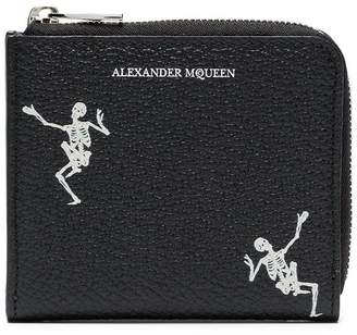 Alexander McQueen black Dancing Skull leather zip wallet