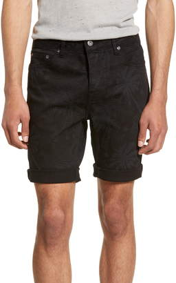 Topman Skinny Fit Palm Print Denim Shorts