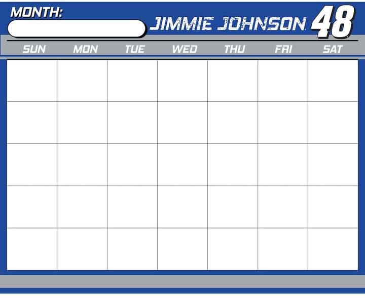 Kohl's Jimmie Johnson Dry-Erase Calendar