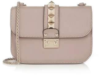 Valentino Lock Small Powder Pink Leather Chain Shoulder Bag