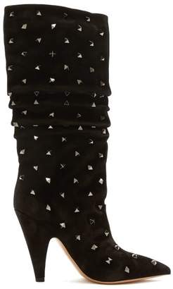 Valentino Rockstud Suede Boots - Womens - Black