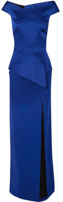 Roland Mouret Cawthorne Off-the-shoulder Satin Gown - Blue