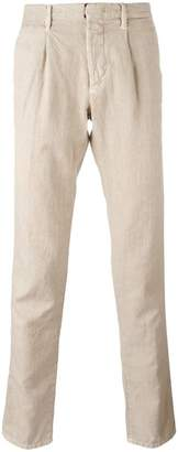 Incotex pleat detail tapered trousers