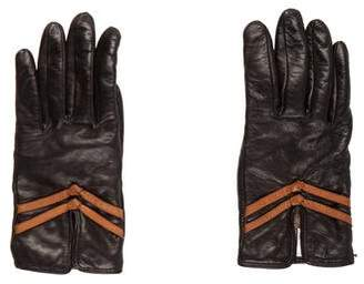 Neiman Marcus Leather Embellished Gloves