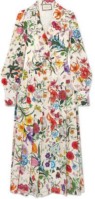 565e8d30a0c Gucci Pleated Floral-print Silk Crepe De Chine Dress - Ivory