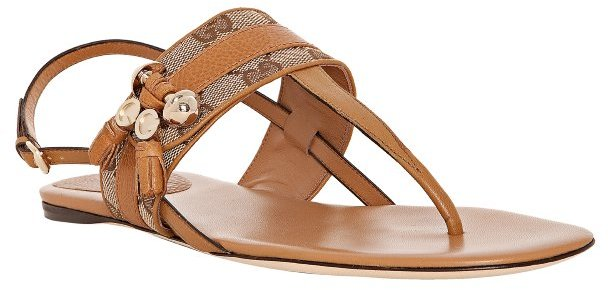Gucci tan leather GG canvas 'Marrakesh' thong flat sandals