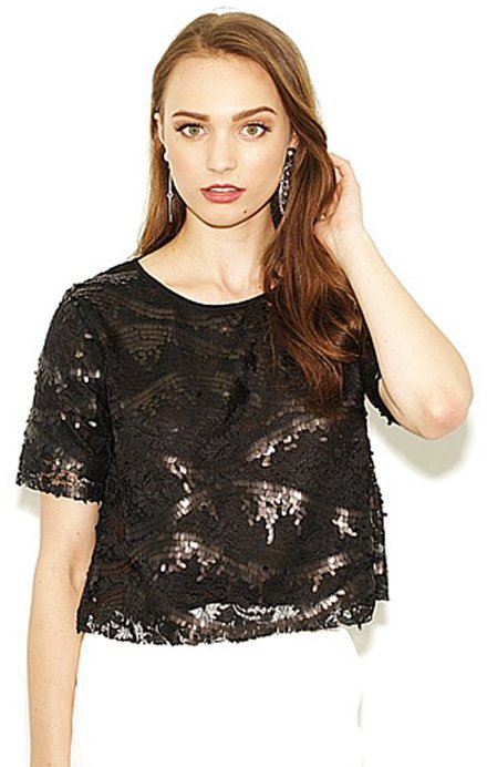 West Coast Wardrobe West Coast Wardrobe City Lights Sequin Crop Top in Black