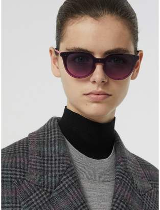 Burberry Keyhole Round Frame Shield Sunglasses