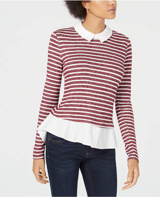 Maison Jules Striped Layered-Look Top