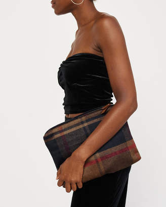 Abercrombie & Fitch Plaid Wool-Blend Clutch