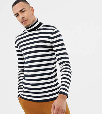 Selected Roll Neck Stripe Long Sleeve Top