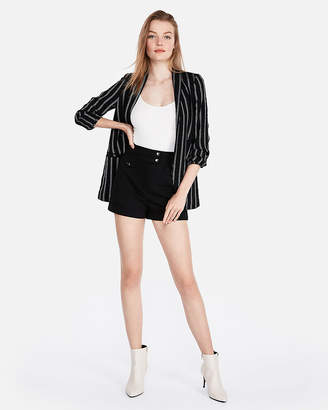 Express Super High Waisted Snap Front Cotton-Blend Shorts