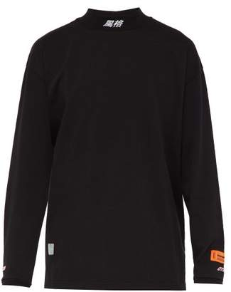Heron Preston Logo Embroidered Long Sleeved Cotton T Shirt - Mens - Black White
