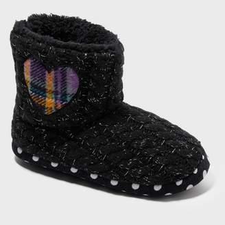 Dearfoams Girls' Sweater Knit Bootie with Heart