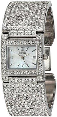 Badgley Mischka レディースBA / 1365mpsvスワロフスキークリスタルアクセントシルバートーンバングル腕時計